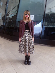 Nicole Ngaise - Uniqlo Neo Leather Jacket, Topshop Crop Top, Asos Belt, The Editor's Market Vintage Skirt, Dr. Martens Agyness Deyn X Dr Boots, Cheap Monday Sunnies - Faraway