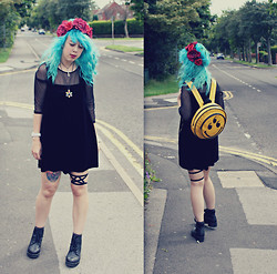 Sarah Miller - River Island Flower Crown, Topshop Playsuit, Topshop Mesh Crop Top, Unif Smiley 666 Backpack, Topshop Boots - Collapsed to my knees and fell fast into sleep