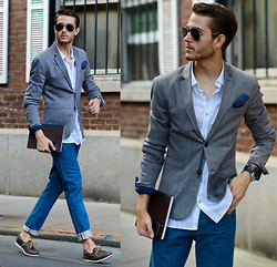 Adam Gallagher - Ted Baker Blazer, Linen Shirt, Ray Ban Aviators, Ted Baker Jeans, Sperry Topsiders, Giorgio Armani Watch, Bracelet - Jean Grey