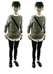 Glendon Thaiw - H&M Grey Sweatshirt, H&M White Button Down, Dr. Martens Cherry Red Boots - GREYISH TINT