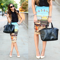 Jackie Welling - Asos Black Top, Topshop Carnival Skirt, Justfab Nude Heels, Zerouv Black Sunglasses, New Look Black Handbag - Carnival Craze