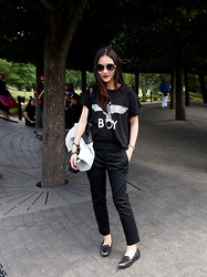 Leonie Leong - Boy London T Shirt, By Corpus Jacket, Banana Republic Pants, Sam Edelman Shoes, Gucci Sunglasses - Lady in Black.