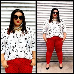 Jamila Pierre - Simplybe Black And White Bird Print Button Down, Forever 21 Red And Black Polkadot Skinnies, Forever 21 Black Kitten Heels, Charlotte Russe Gold Necklace, Nyx Red Matte Lip Creme In Amsterdam - Ladybug, Lady Luck.