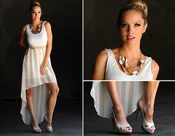 Caitlyn Wilson - Pink Basis Hi Lo Dress, Dsw Heel Sandals, Forever 21 Stone Necklace - Nude Basics