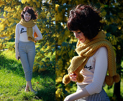 Sushi Girl - Satin Hair Bow, Dangerfield Pom Pom Scarf, Asos Bonjour Knit, Dangerfield Gingham Trousers, Love Bunny Ring Set - It was all yellow
