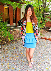 B @Style Voyage - Zara Neon Top, Zara Blue Peplum Skirt, Gallo By Thian Pointy Shoes - Vibrant August