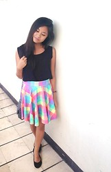 Lea Esguerra - Black Chiffon Top, Colorful Skater Skirt, Solemate Ballet Flats - Colors