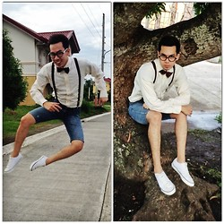 Earth Sagun - Sm Accessories Eye Glasses, Bow Tie, Suspender, Human Jeans Diy Short, Converse White Trainer Shoes - Crazy Kid
