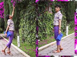 Alejandro Maza - Manov Mail Envelope Clutch, Thrifted Purple Pants, Thrifted Purple Floral Shirt, Tascani Gladiator Sandals, H&M Ring - FLORAL PUNCH