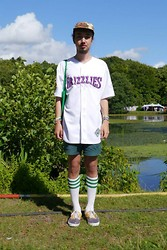 Timothy Pettersson - 2nd Hand Grizzlies Baseball Jersey, Love I Ugly, 2nd Hand Shorts, American Apparel Hi Socks, Vans Skate Shoes - WAY OUT WEST 2013