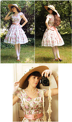 Tyler H - My Own Work Rose Dress, Antique Pink Silk Sash, Ebay Lace Tights, Thrifted Large Hat, Came With Bridesmaid Dress Pink Scarf, Lily Of The Valley Wild Rose Garland, Naturalizer Caramel Heels, My Own Work Tatted Camera Strap, Cameo The Label Intaglio, Crochet Gloves - Summer Hat