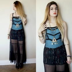 Lexi L - Free People Mesh Maxi Dress, Second Hand Egyptian Triangle Necklace, Second Hand Aztec Print Shorts - Release!