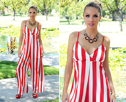 Caitlyn Wilson - Pink Basis Stripe Jumpsuit, Reflections Read Heel, H&M Black Necklace - Candy Cane Gal