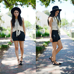 Trang Huyen - Line & Dot Silk Top, Vintage Jewelry, Pixie Market Ankle Sandals, Alexander Wang Jersey Shorts, Urban Outfitters Cuff - Tie Up Loose Ends