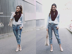 Camille Sioco - Oasap Denim Shirt, Jay Jays Boyfriend Jeans, Tony Bianco Raffa Nude Heels, Louis Vuitton Neverfull, Cotton On Scarf - Double Denim