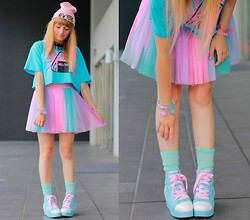 Laura Dambremont - Angelic Pretty Shoes, 6% Dokidoki Dress, Melon T Shirt - Blue Screen