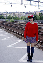 Dorian Kim - Amway Cap, Korea Sweater, Forever 21 Flower Print Dress, Gangnam Knee High Socks - Dipped in Red