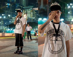 Paul Jatayna - Os Overbite Cap, Os Space Ankh Necklace, Astrid Andersen X Storm Shirt, Mogul Leather Shorts, Topman Skull Socks, Raf Simons Ozweego 2 Trainers - BRINGTHENOIZE