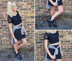 Charlotte Lewis - Hearts And Bows Lace Crop Top, River Island Cut Out Boots, New Look Quilted Zip Skirt, Gap Grunge Checked Shirt - Checked Shirts & Quilted Skirts