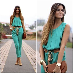 Marianela Yanes - Sammydress Jumpsuit, Zara Shoes, Pull & Bear Bag - Blue Green