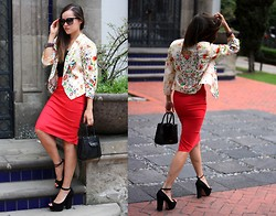 "Gaby Gómez MODA CAPITAL - Sheinside Blazer, Rebecca Minkoff Bag, D&G Sunglasses, Zara Heels, Windsore Skirt, Swarovski Bracelet - ""Flowers in the air"""