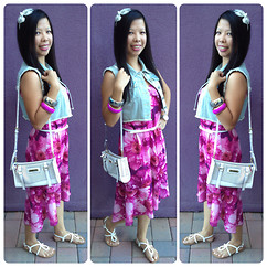 Judith A - Jonathan Martin High Low Floral Dress, Highway Jeans Jean Vest, Juicy Couture Airy Crossbody, Mossimo White Thong Sandal, Michael Kors Silver Watch, Macy's Silver Headband, Forever 21 Bangles, Macy's White Belt - LET'S TRY! BOHEMIAN LOOK