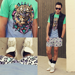 Reinaldo Irizarry - Life Clothing Co. Shirt, Forever 21 Vest, Topman Shorts, Maison Martin Margiela Sneakers, Deal With It Sunglasses - INTO THE WILD