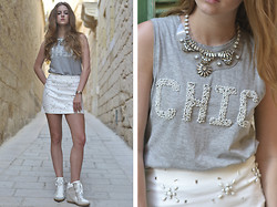 Lara Rose Roskam - Mango Transparant Necklace, Zadig & Voltaire Chic Shirt, H&M Embellishment Skirt - STREET CHIC