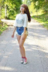 Riikka P - H&M Lace Shirt, Bik Bok Shorts, Converse Shoes - Live it up