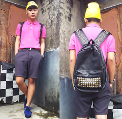 KEVIN CHRISTIAN - Thrift Store Monster Beanie, Polo Ralph Lauren Pink Shirt, Online Studded Backpack, Thrift Store Shorts, Swiss Army Watch, Elel Suede Blue Creepers - #22 COLORBLOCKER