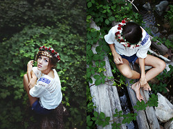 Heather Bybee - Forever 21 Embroidered Shirt, Handmade Floral Crown, Thrifted High Wasted Shorts - Searching for berries