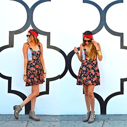 Lainey G - Vintage Headband, Forever 21 Dress, Kaitlin Crop Top, Report Shoes, Nissa Jewelery Gold Cuff - Florals & Turbans