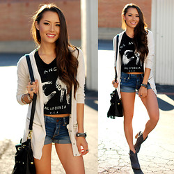 Jessica R. - American Eagle Boyfriend Cardigan, Dailylook Socal Muscle Tank, American Eagle Denim Shorts, Steve Madden Gray Suede Booties - Rock Your Walk
