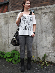 Erika Berglund - The Urban Project Boots, Bik Bok Jeans, Jc Top, Iclothing Studded Bag - Into the night