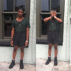 Corey Randle - American Apparel Oversized Tshirt, Vintage High Waisted Shorts, Dr. Martens Black Dr Boots - Forrest gump green