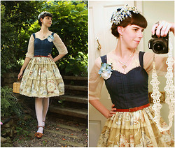 Tyler H - My Own Work China Cabinet Dress, Ebay Cream Lace Stockings, Naturalizer Caramel Heel, My Own Work Shoe Bow Clips, Antique Store Vintage Straw Purse, Kohls Cream Embroidered Tulle Wrap, Caryn L Hetherston Designs Dendritic Quartz Pendant, My Own Work Blue Hydranga Corsage, Gift Thin Leather Belt, My Own Work Tatted Camera Strap, Gift Vintage Hat - Wedgewood Dreams