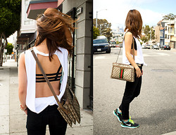 Christine Y - Nike Frees, Gucci Vintage Handbag, Brandy Melville Usa Bralette, Hudson Denim - Free in my Nike Frees
