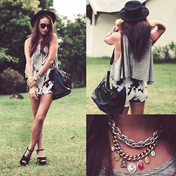 Melanie Winter - Sheinside Shorts, Necklace, Steve Madden Shoes - COW COW