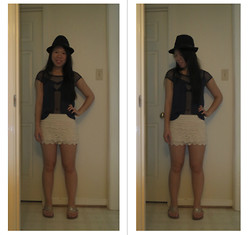 Juliet Ly - Kmart Black Fedora, Aeropostale Black Mesh Top, Wet Seal Lace Shorts, Target Gold Sandals - Mesh and Lace