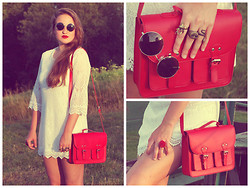 Klára P. - H&M Red Satchel Bag, H&M White Lace Dress, H&M Sunglasses, Six Red Rose Ring, H&M Stag Metal Ring, Claire's Snake Metal Ring, Six Owl Metal Ring - Wild beauty