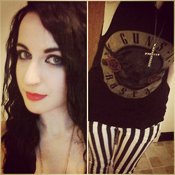 Ali Zombie - Primark Studded Cross Necklace, Primark Guns 'N' Roses Vest, New Look Black & White Stripe Jeans - Nightrain