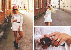 Fanny Larsson - H&M Crochet Dress, Citronsorbet Flowerdiadem, Dr. Martens Boots, H&M Rings - She refuses to let the summer go