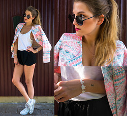 Catherine V. - Jacket, H&M Top, Zara Short, Converse, Sunglasses, Bracelet, Michael Kors Watch - Aztec love.