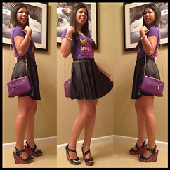 Judith A - Aeropostale Colorful Tiger Print, Forever 21 Black Faux Leather, Unlisted Tropical Bend Wedge, Furla Purple Crossbody, Michael Kors Gold Watch, Swarovski Colorful Bracelets, Juicy Couture Gold Chain, H&M Gold Headband - PURPLELICIUOS!