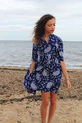 Charnelle Gardiner - Sheinside Blue Printed Dress - Azure