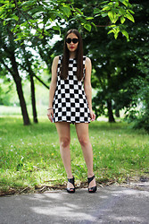 Jovana Bovan - Miss Sixty Heels, Sheinside Dress - Checkered print dress