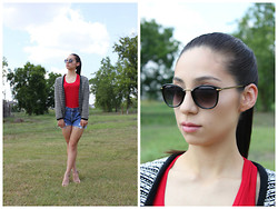 Nat M - Forever 21 Sunglasses, Forever 21 Tank, Target Cardigan, Go Jane Heels, Levi's® Highwaisted Shorts - Monochrome & red.