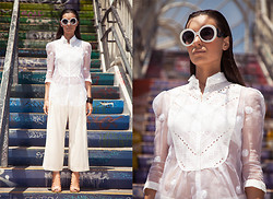 Marta Pozzan - Mango Cropped Wide Leg Trousers, L.K. Bennett Capri Up Front Sandals, Yuna Yang White Sheered Silk Organza Top With Bib Detailing - Invisible City
