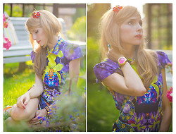 Tini Tani - Sheinside Dress, Lalo Treasures Hair Headbands, Lalo Treasures Ring - Purple floral dress