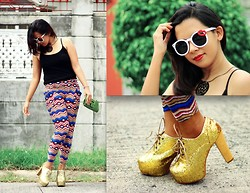 Angeline Rodriguez - Freeway Black Tank Top, Sister's Act Colorful Tribal Pants, Asian Vogue Shop Gold Bootie Heels, Crave More Black Ornamental Necklace, Young Wild Free White Kiss Mark Sunglasses, Manels Green Animal Skin Clutch - Book Boyfriends